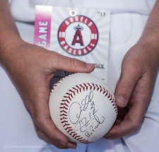 Honorary Bat Kid, Sammy Stremick's autographed ball. Photo by Matt Brown/Angels Baseball LP
