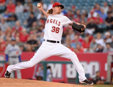Jered Weaver #36 throws strikes in the first inning. Photo by Matt Brown/Angels Baseball LP