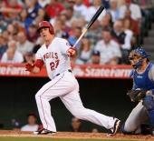 Mike Trout #27 at bat. Photo by Matt Brown/Angels Baseball LP