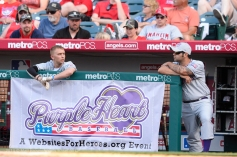 Game action from the Purple Heart baseball game on Armed Forces Day at Angel Stadium. Photo by Matt Brown/Angels Baseball LP