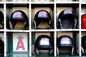 Helmets in the dugout before the Purple Heart baseball game on Armed Forces Day at Angel Stadium. Photo by Matt Brown/Angels Baseball LP