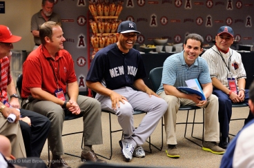 Mariano Rivera laughs at a stoy during a special meet and greet session with members of the Angels organization before the game. Photo by Matt Brown/Angels Baseball LP