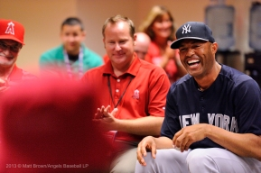 Mariano Rivera shares a laugh as he meets with members of the Angels organization during a special meet and greet session before the game. Photo by Matt Brown/Angels Baseball LP