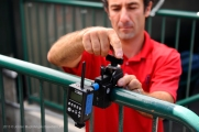 Angels Director of Photography Matt Brown sets up the Pocket Wizard MultiMAX receiver. Photo by Jordan Murph/Angels Baseball LP