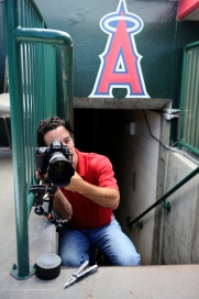 Angels Director of Photography Matt Brown focuses the home plate remote camera. Photo by Jordan Murph/Angels Baseball LP
