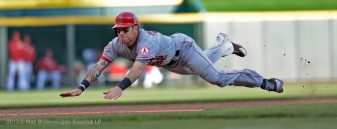 Josh Hamilton #32 sliding. Photo by Matt Brown/Angels Baseball LP