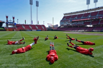 Pitchers Stretching. Photo by Matt Brown/Angels Baseball LP