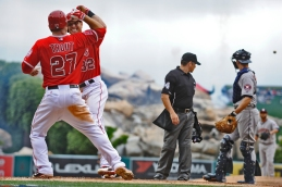 Josh Hamilton #32 and Mike Trout #27. Photo by Matt Brown/Angels Baseball LP