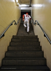 Mike Trout #27 walking up the stairs back to the clubhouse. Photo by Matt Brown/Angels Baseball LP