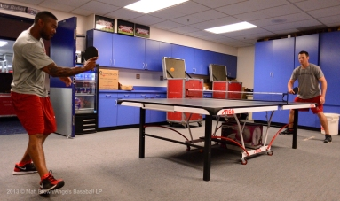 Howard Kendrick #47 and Peter Bourjos #25 playing ping pong in the clubhouse. Photo by Matt Brown/Angels Baseball LP