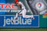 Josh Hamilton #32 running., jumping over ball, jetBlue. Photo by Matt Brown/Angels Baseball LP