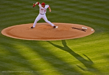 C.J. Wilson #33 pitching. Photo by Matt Brown/Angels Baseball LP