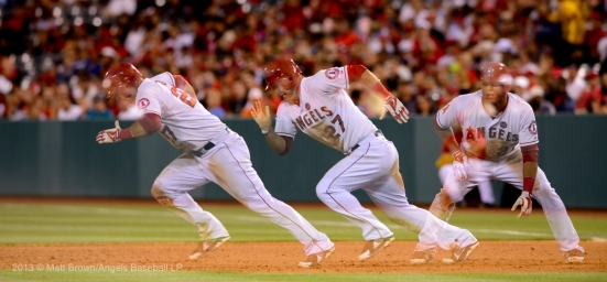 Mike Trout #27 running. Multiple exposure. Photo by Matt Brown/Angels Baseball LP