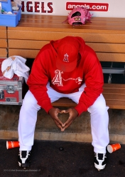 Jerome Williams #57 sitting in the dugout. Photo by Matt Brown/Angels Baseball LP