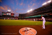 Josh Hamilton #32 waiting on deck, on deck circle. Photo by Jordan Murph/Angels Baseball LP