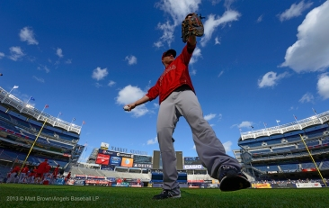 Mark Trumbo #44 throwing during batting practice. Photo by Matt Brown/Angels Baseball LP