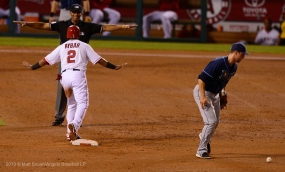 Erick Aybar #2 and umpire. Photo by Matt Brown/Angels Baseball LP