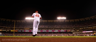Ernesto Frieri #49 running to the mound. Exiting bullpen. Taking the field. Photo by Matt Brown/Angels Baseball LP