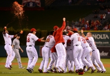 Erick Aybar #2 tossing Gatorade. Team celebrating, hugging. Photo by Matt Brown/Angels Baseball LP