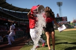 Mike Trout dodges a shower after curtain call victory