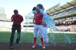 David Murphy cools off with a bucket of BODYARMOR after his walk-off win vs Baltimore in August