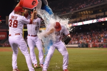Huston Street is showered with BODYARMOR and water after becoming the second youngest Closer to record 300 saves