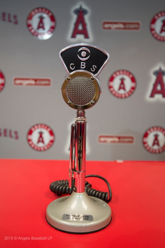 Replica microphone engraved with the date of Scully's first broadcast, a college football game at Fenway Park. 2016 © Angels Baseball LP. All Rights Reserved.