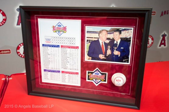 Framed lineup card from the 1989 All-Star Game he called in Anaheim. 2016 © Angels Baseball LP. All Rights Reserved.